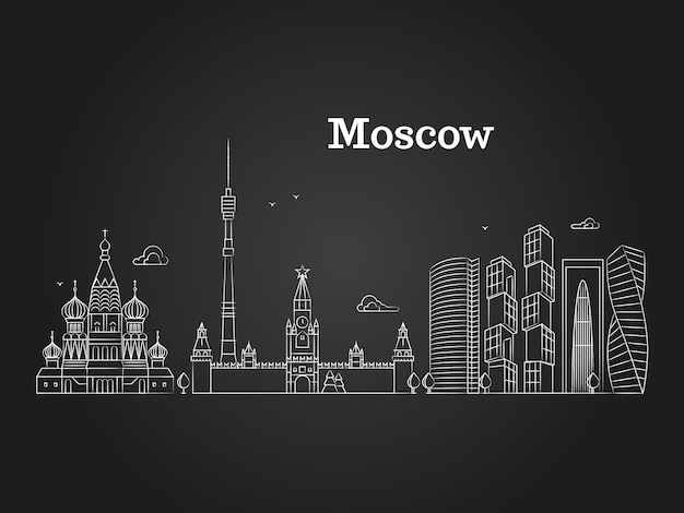 Белая московская линейная россия ориентир Premium векторы