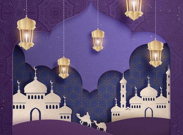 紫色の背景に白いモスクとランタン