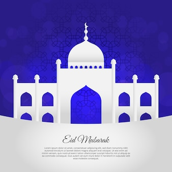 White mosque on blue background