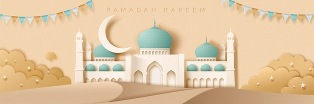 White mosque in desert with flags in paper art