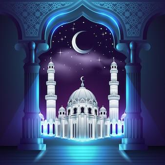 Белая мечеть посреди ночи Premium векторы