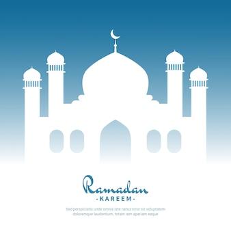 White mosque ramadan kareem islamic background