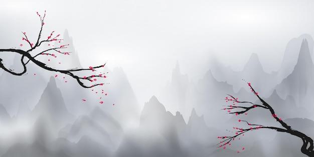 하얀 산과 하얀 안개와 매달린 나무가 꽃, 벚꽃 색깔로 장식되어 있습니다.