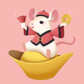 금괴 위에 앉아 분홍색 배경 위에 빨간색 패킷을 들고 있는 흰색 마우스