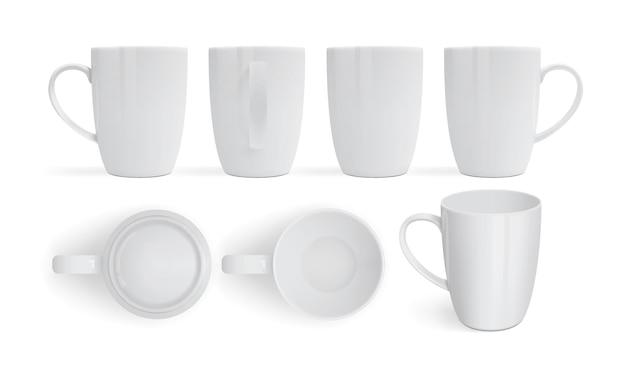 さまざまな側面から白い背景ビューに分離された白いマグカップ