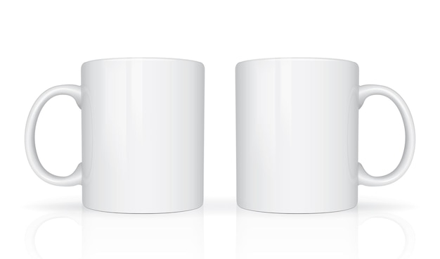 White mugs isolated view from different sides