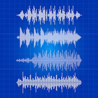 White music waves collection - musical pulse on blue backdrop