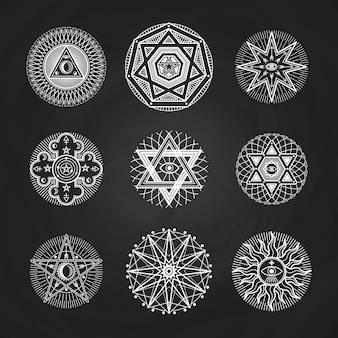 White mystery, occult, alchemy, mystical esoteric symbols on blackboard