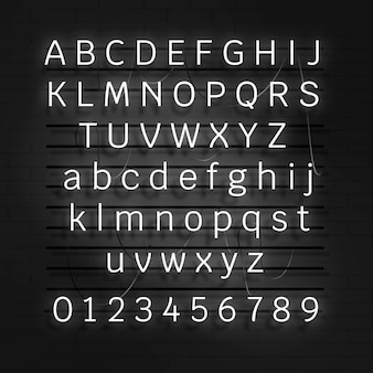 White neon alphabet and number set on a black background
