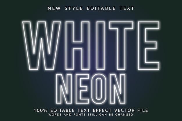 White neon editable text effect emboss neon style