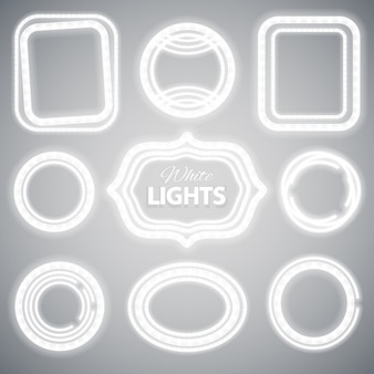White neon lights frames