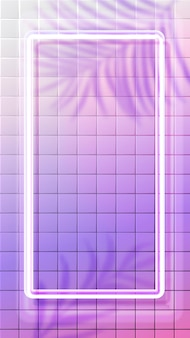 White neon vertical frame glowing on tiles background with tropic leaves shadow overlay. pink holographic surreal backdrop. 9:16 social media stories format.