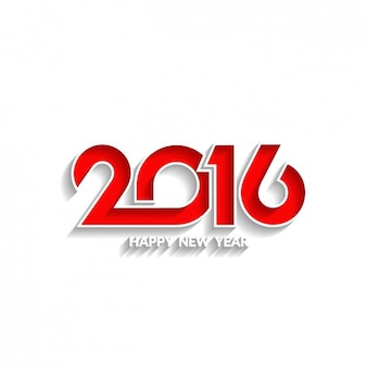 White new year background with red 2016