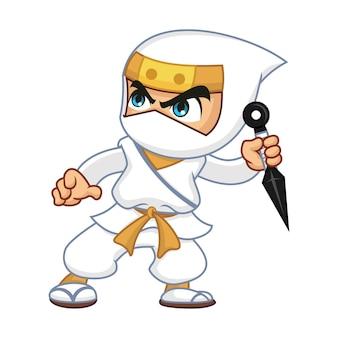 White ninja with kunai
