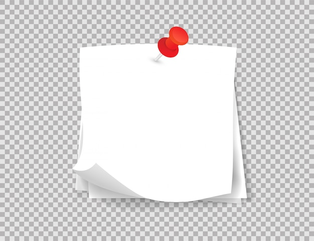 White note papers with curled corner, pinned red push button on transparent background.