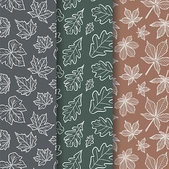 ホワイトオーク、アメリカハナノキ、セイヨウトチノキの葉こんにちは10月手描きのシームレスなパターン無料ベクトル