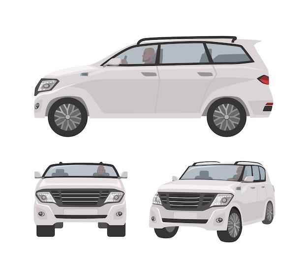 흰색 오프로더, cuv 자동차 또는 자동차 흰색 절연