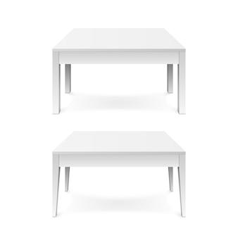 흰색 배경에 고립 된 그림자와 흰색 사무실 테이블