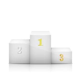 Белый олимпийский постамент с номерами