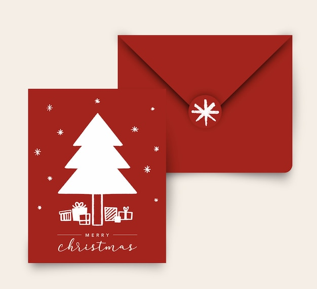 Белое на красной рождественской елке с подарками поздравительная открытка с конвертом