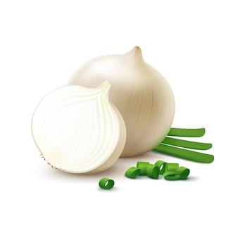 Луковицы белого лука с нарезанным зеленым луком