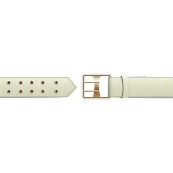 Белый открытый ремень с классической золотой металлической пряжкой