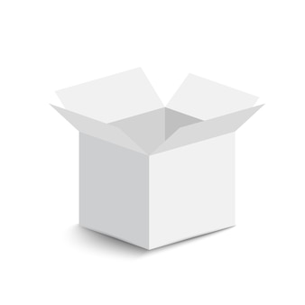 White open box on white background. open box with shadow.  illustration