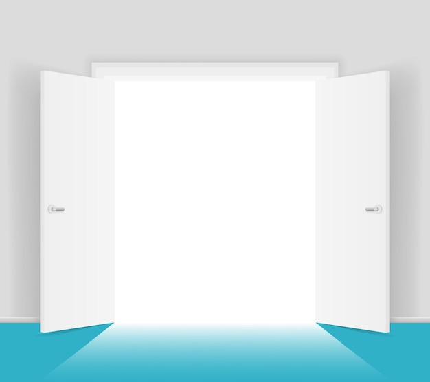 White open doors isolated illustration. shining light from doorway. opening to freedom