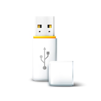 Белый открытый флэш-накопитель usb на белом фоне. передача и хранение данных, информации