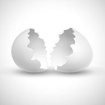 White opened easter with shell broken isolated  illustration.