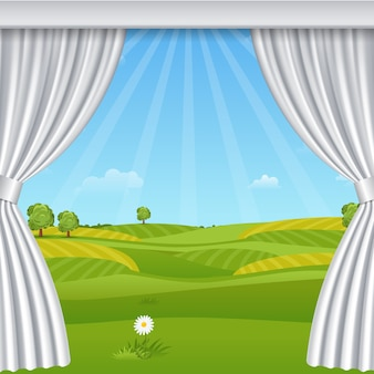 White opened luxurious curtains template