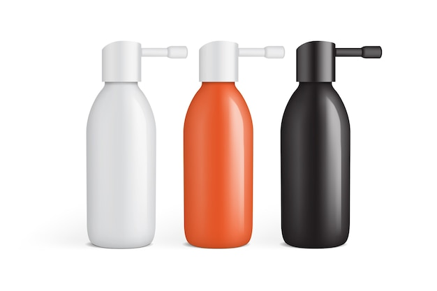 Белая, оранжевая и черная пластиковая бутылка для спрея для ушей на белом фоне шаблона