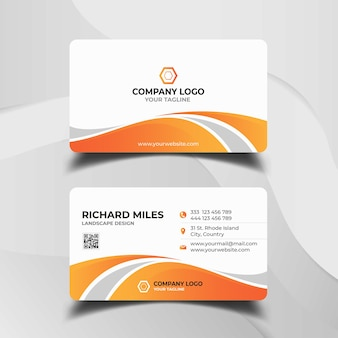 White and orange business card template