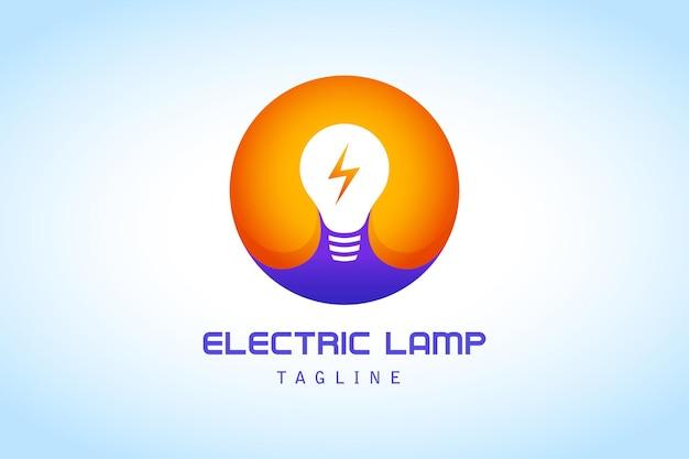 稲妻のグラデーションのロゴの会社と白オレンジ紫の円