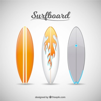 White and orange surfboards