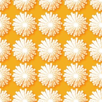 オレンジ色の背景に白い折り紙花柄シームレスパターン。