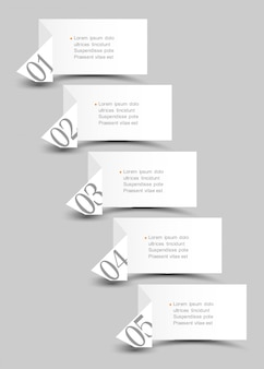White origami paper numbered banners