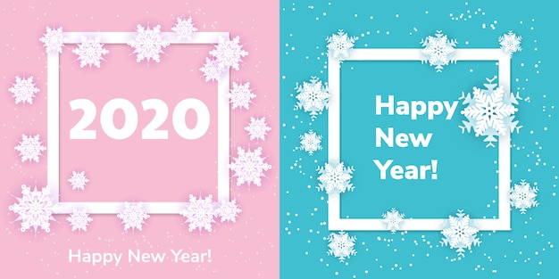 White origami snowflakes with shadow on blue and pink . paper cut. set square frame.  winter illustration for decorating for the new year 2020 and christmas.