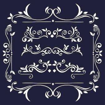 Белые орнаменты в рамке на синем фоне темы декоративный элемент