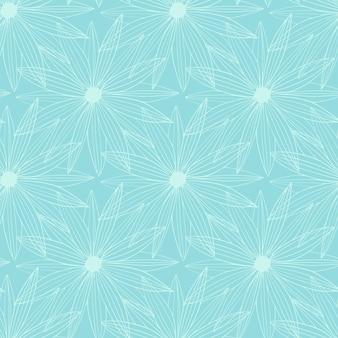 青の背景にクラシックなスタイルでシームレスな白いアウトラインデイジー。エレガントなアート。