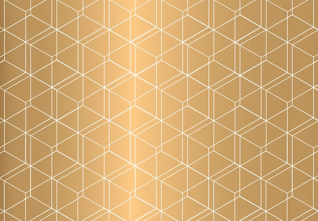White outline geometric seamless pattern on golden background. luxury style.