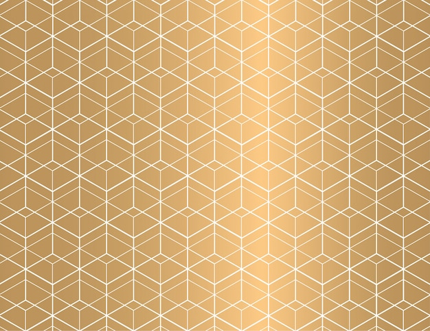 White outline geometric seamless pattern on golden background.