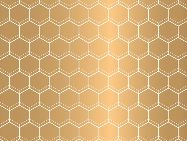 White outline hexagon pattern on golden background.