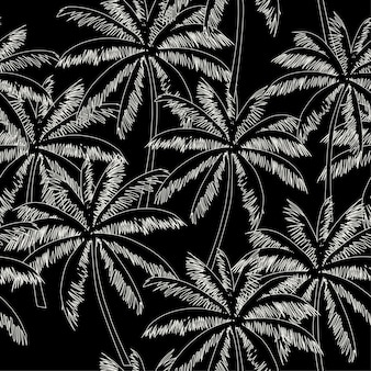 White  outline palm trees black background