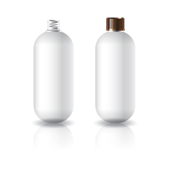 White oval round cosmetic bottle with grooved screw lid.