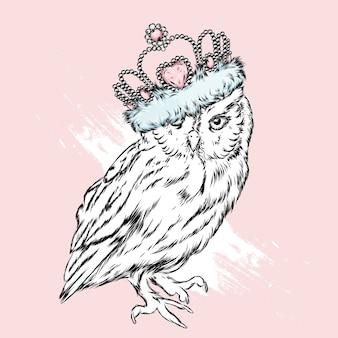 Белая сова с короной