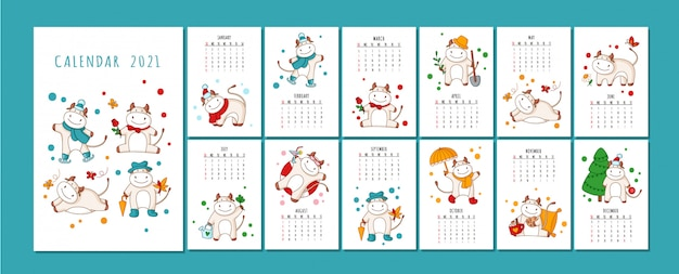 White ox calendar or planner format, cartoon ox, bull or cow, symbol of new year