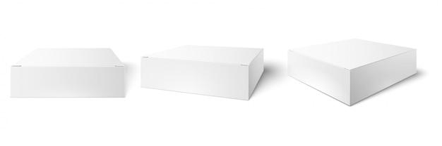 Белая упаковочная коробка. пустой макет, вид куба в перспективе и наборы 3d-макетов для потребительских товаров