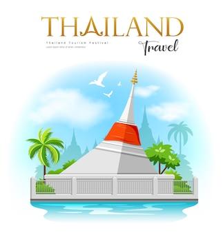 赤い布の白い塔、クレット島、ノンタブリー県のチャオプラヤー川に浮かぶ小さな島、タイを旅します。