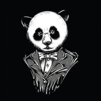 White panda black and white illustration